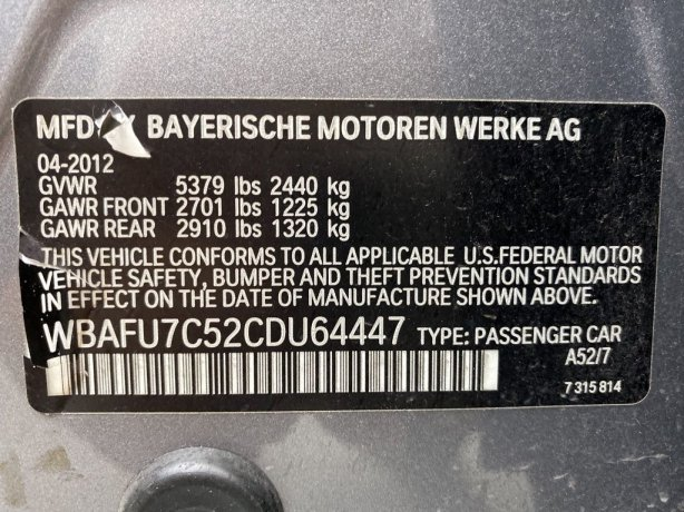 BMW 5 Series 2012 for sale