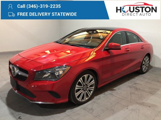 Used 2018 Mercedes-Benz CLA for sale in Houston TX.  We Finance!
